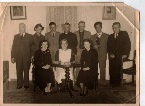 Athboy Dramatic Group, 1950 Back Row: John Farrell, Fran Mahon, Andy Cullen, Matt Moore, Ollie Bird, Michael Coleman, Dan Foy. Front Row: Joan Dempsey, Carmel Cullen, Kathleen Cullen,