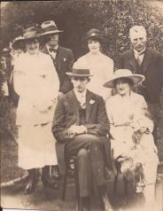 L to R : Adelaide Henry (nee Coffey) ; Ben Molloy ; Molly Lewis (sister of Bride ) ; Sam Lewis (Bride's father). Seated ; Mervyn Coffey and Edith Lewis Dated 1920 Courtesy Peter Coffey