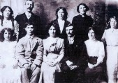 Athboy Branch of Gaelic League circa 1907-08. Back Row: ??, Nicky Byrne, ??, ?? Front Row: Emily Kavanagh, James White, ??, Patrick Carey, ??, Mrs. Farrell, Courtesy of Des White.