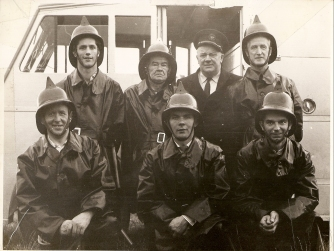 Athboy Fire Brigade circa 1962. Background L-R Des White, John Boylan (Capt), Bob Flanagan (Asst. County Fire Chief), Johnny Ennis Front Row L-R: Joe Murphy, Tom Collins, Colman Kane) Courtesy of Des White