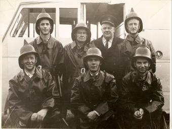Athboy Fire Brigade circa 1962. Background L-R Des White, John Boylan (Capt), Bob Flanagan (Asst. County Fire Chief), Johnny Ennis Front Row L-R: Joe Murphy, Tom Collins, Colman Kane) Courtesy of Des White