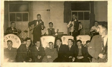 PJ Fox's Dance Band L-R: PJ Fox, Bobby Mullen, Luke Mahon, Michael Coleman Olive Rice.Front Row: Christy Leavy, Richie Castles, Jim Tuite, Frank Brogan, John Joe Fox, Paddy May. Courtesy of Nora Kavanagh and Mark Wiseman.