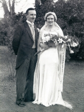 Gerrard Hilliard O'Doherty and Evelyn Ruth O'Doherty on their wedding day at St. James Church, Athboy. 25th March 1935 Courtesy of Judy O'Doherty