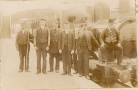 Photograph taken at Athboy Railway station. One of these men is identified as John Kavanagh. Courtesy of David Gilroy
