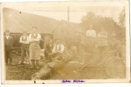 M. Fox, T. Gilroy, J. Doherty, W. Kirkpatric, J. White, J. Sheridan, P. Geraghty and ? Geraghty at Sawill. Date unknown. Courtesy of David Gilroy.
