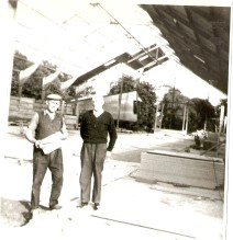 P. Gilroy and Tom Ryan during construction of Newman's Store at the old Kirkpatrick sawmill site, July 1969 Courtesy of David Gilroy