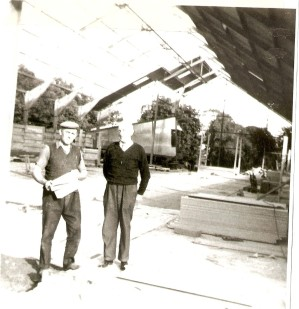 P. Gilroy and M. Newman during construction of Newman's Store at the old Kirkpatrick sawmill site, July 1969 Courtesy of David Gilroy