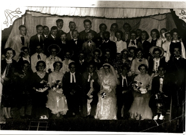 The cast of Trail By Jury from Athboy Dramatic Society's 1957 production. Courtesy of the Leavy familyl.y