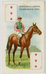 Cigarette card from early 1900s showing jockey H J Ussher on unknown horse in Parr's colours.