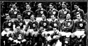 The Irish Rugby team which faced Scotland in 1914. Jack Parr, back row fourth from the left