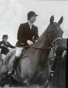 "Norah Parr riding her favorite horse ""One Eye""."