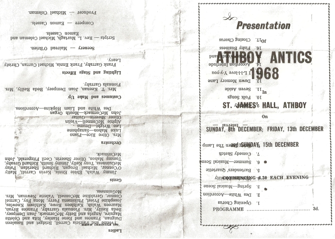 "A programme from the 1968 ""Athboy Antics""."