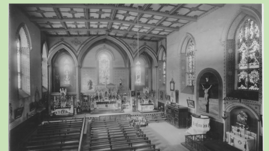 The inside of St James Church, sometime between 1909 and 1917. Note the vaulted ceiling over the main altar. At some point after this, part of this ceiling collapsed, necessitating a complete re-modelling of the area.